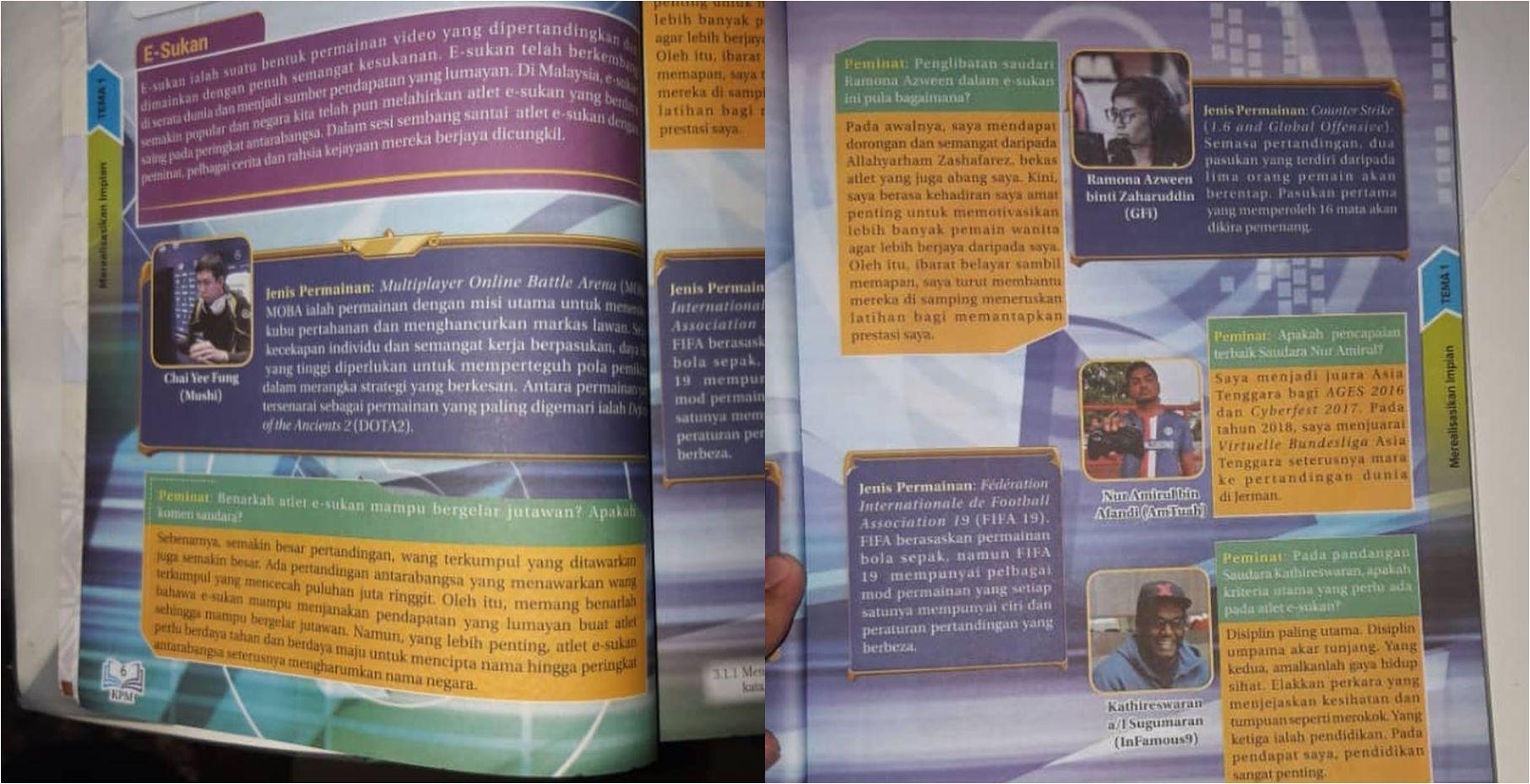 Mygameon E Sukan Kini Diterapkan Dalam Buku Teks Bahasa Melayu Tingkatan 4 Tema 1